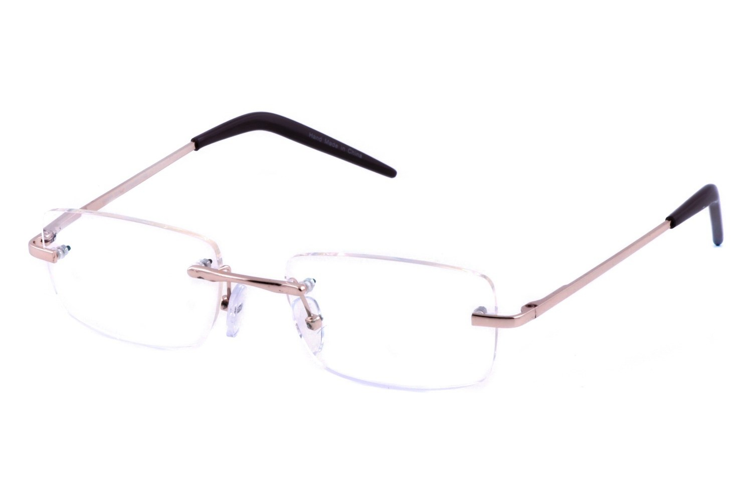 Computer Eyed CE 104 Gold Rectangle Rimless Computer Reading Glasses