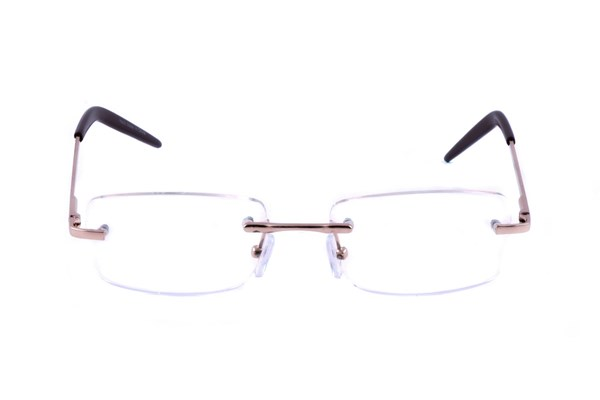Computer Eyed CE-104 Gold Rectangle Rimless Computer Reading Glasses ComputerVisionAides - Gold