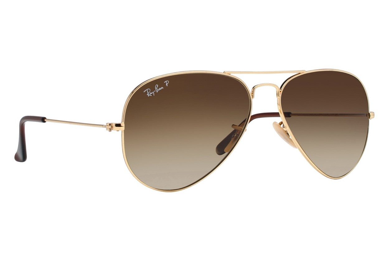 Ray-Ban® RB3025 58 Aviator Large Polarized Gold Sunglasses