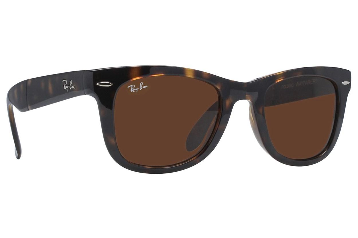 Ray-Ban® RB 4105 50 Folding Wayfarer Tortoise Sunglasses
