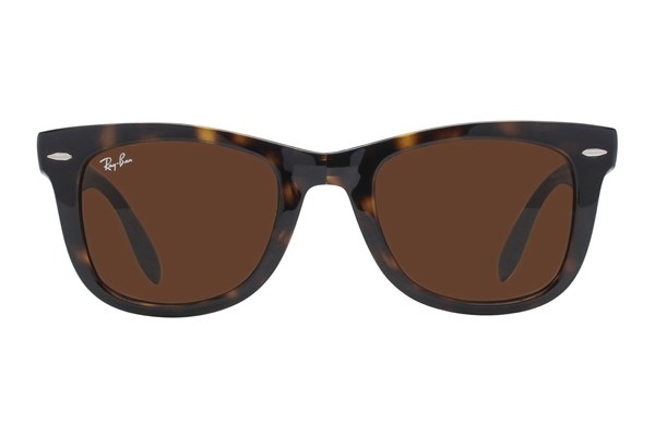 Ray-Ban® RB 4105 50 Folding Wayfarer Tortoise Sunglasses