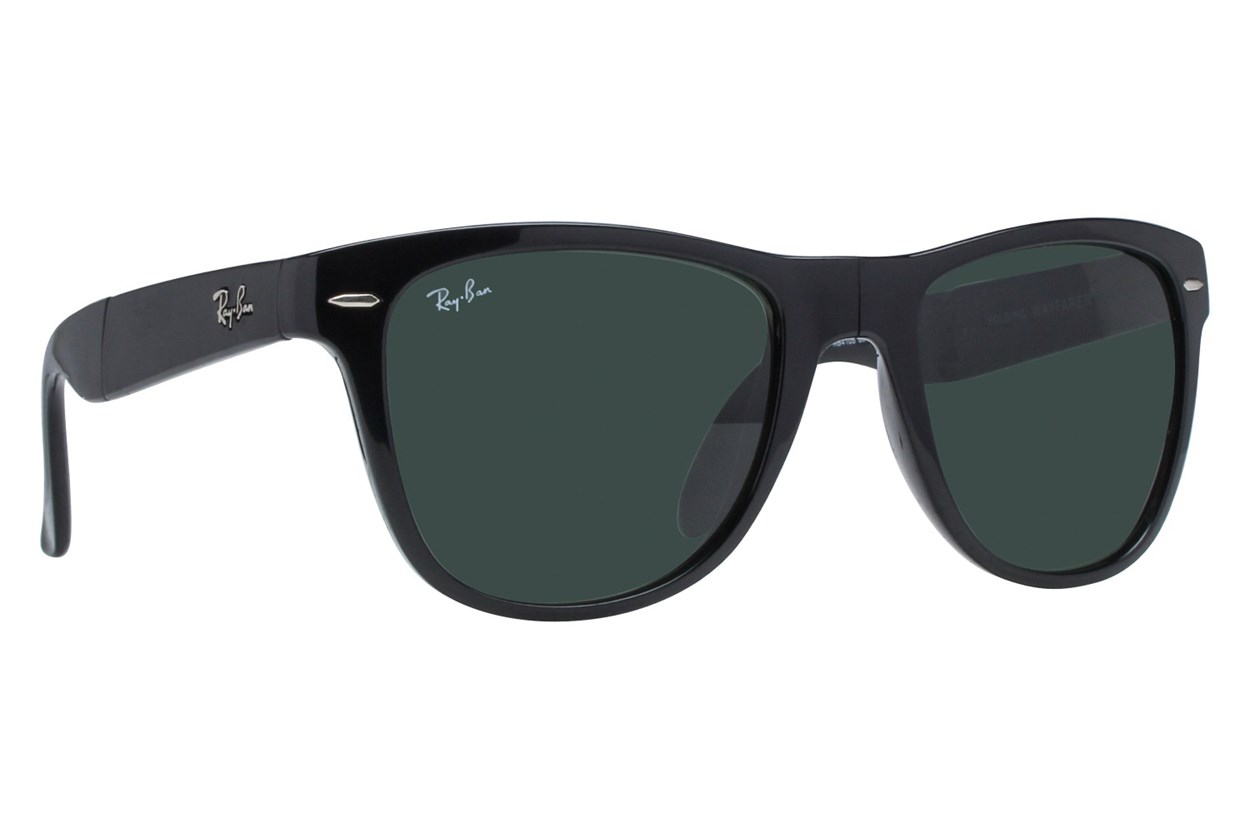 Ray-Ban® RB4105 54 Folding Wayfarer Sunglasses - Black