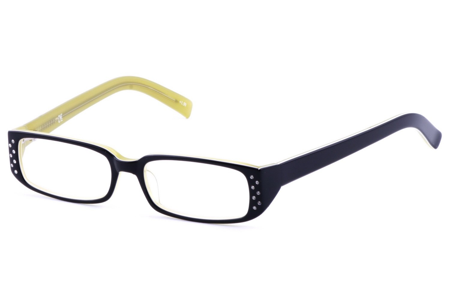 Corinne McCormack Sherry Jet Yellow Rhinestone Reading Glasses