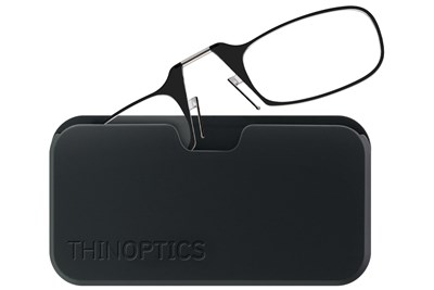 ThinOPTICS Reading Glasses with Universal Pod Case Bundle Black