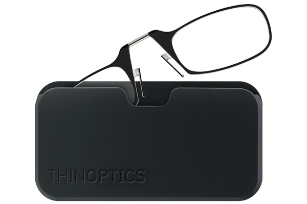 ThinOPTICS Reading Glasses with Universal Pod Case Bundle Black ReadingGlasses