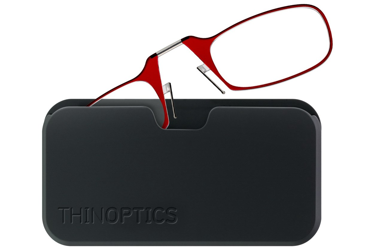 ThinOPTICS Reading Glasses with Universal Pod Case Bundle Red ReadingGlasses