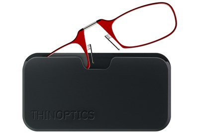 ThinOPTICS Reading Glasses with Universal Pod Case Bundle Red