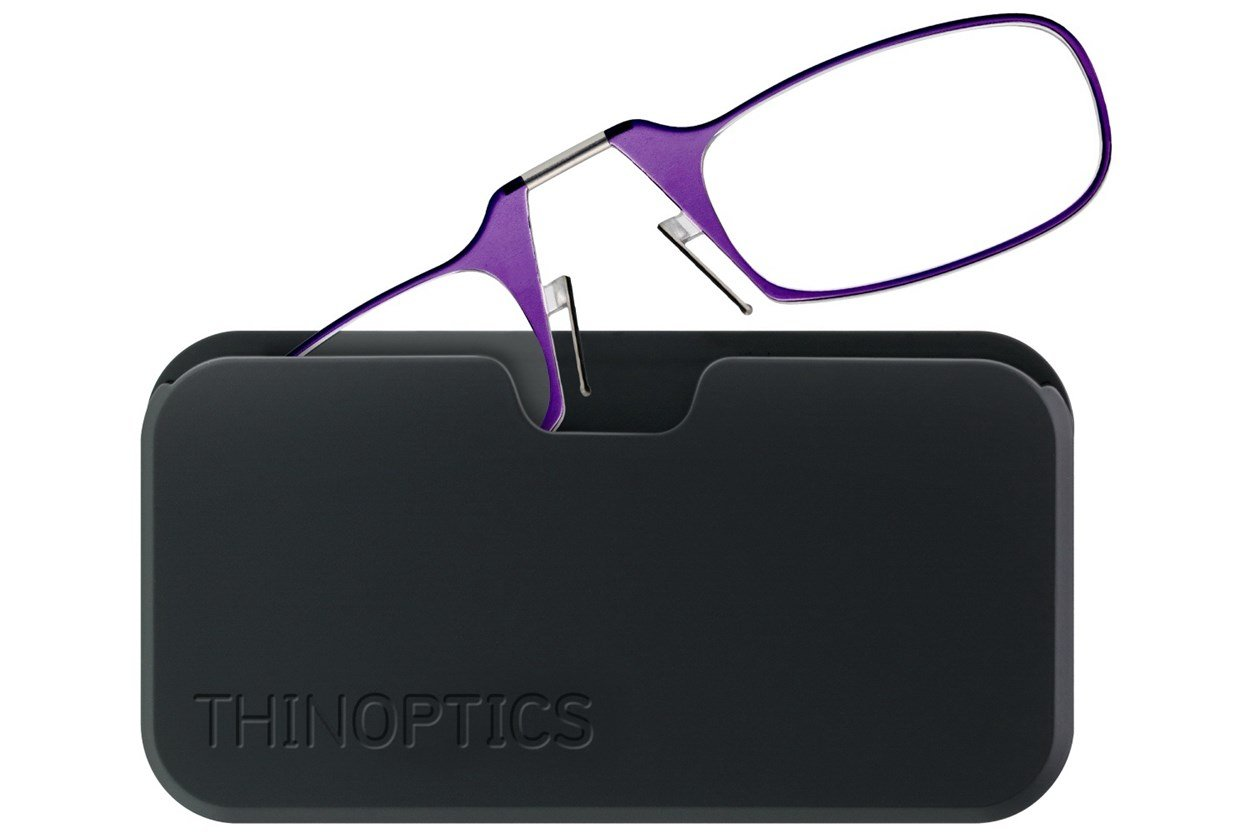 ThinOPTICS Reading Glasses with Universal Pod Case Bundle Purple