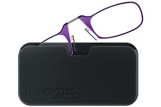 ThinOPTICS Reading Glasses with Universal Pod Case Bundle Purple ReadingGlasses