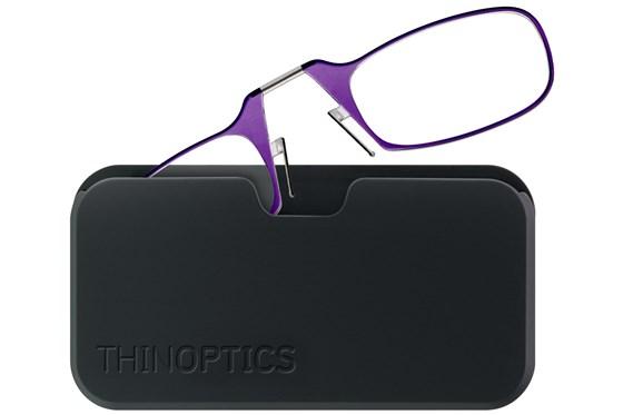 ThinOPTICS Reading Glasses with Universal Pod Case Bundle Purple