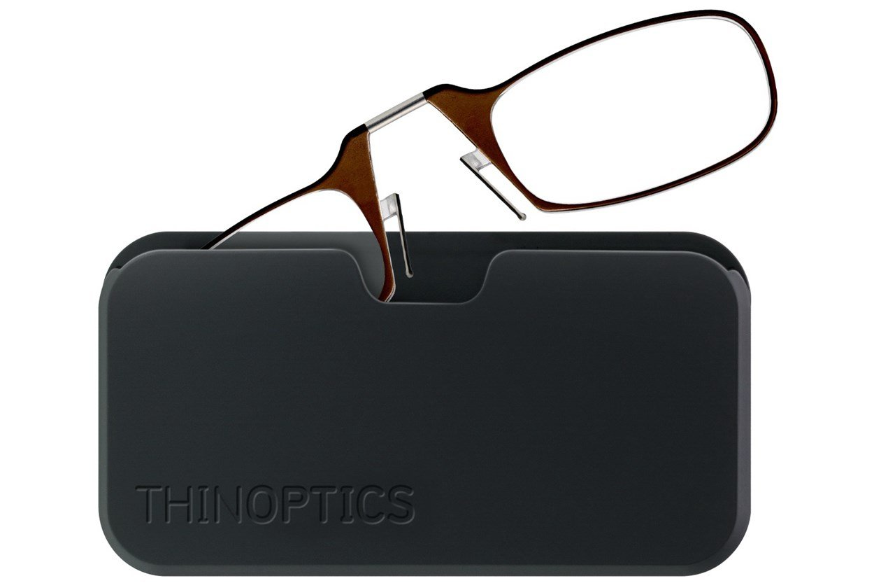 ThinOPTICS Reading Glasses with Universal Pod Case Bundle ReadingGlasses - Brown