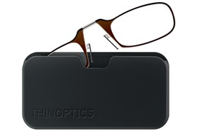 ThinOPTICS Reading Glasses with Universal Pod Case Bundle Brown