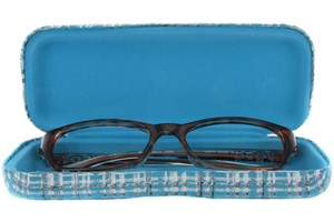 Click to swap image to alternate 1 - CalOptix Silver Plaid Eyeglass Case 50 - Turquoise