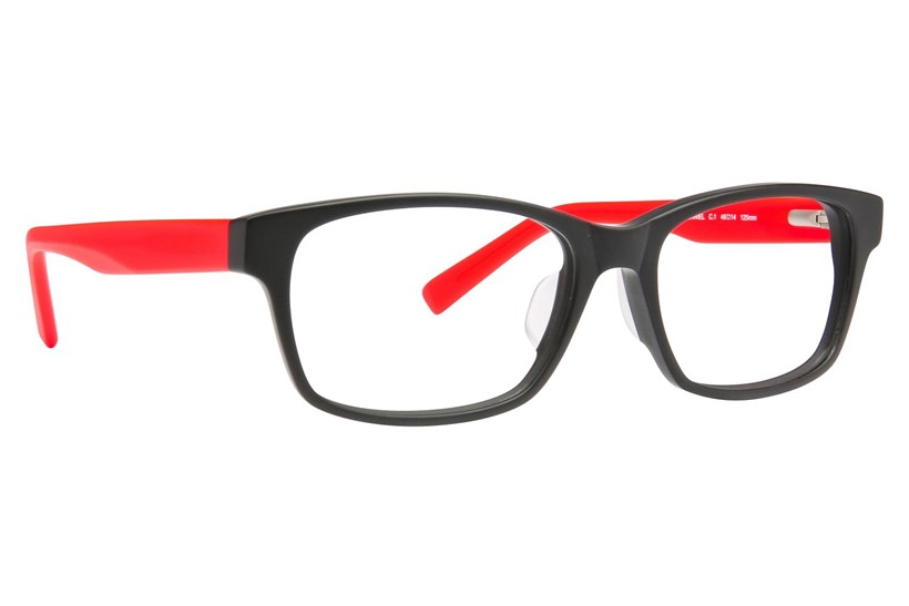 Black With Red Temples
