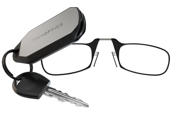 ThinOPTICS Keychain Case & Readers ReadingGlasses - Black