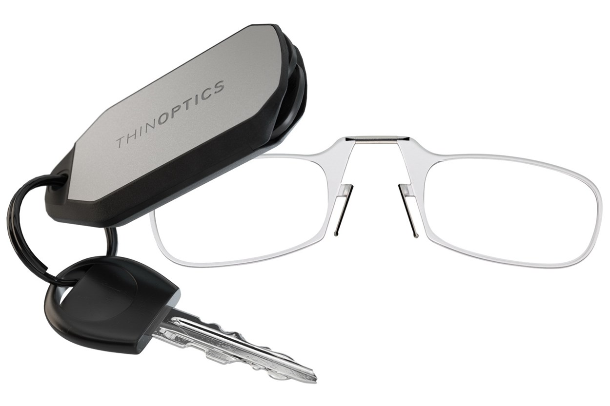 ThinOPTICS Keychain Case & Readers ReadingGlasses - Clear
