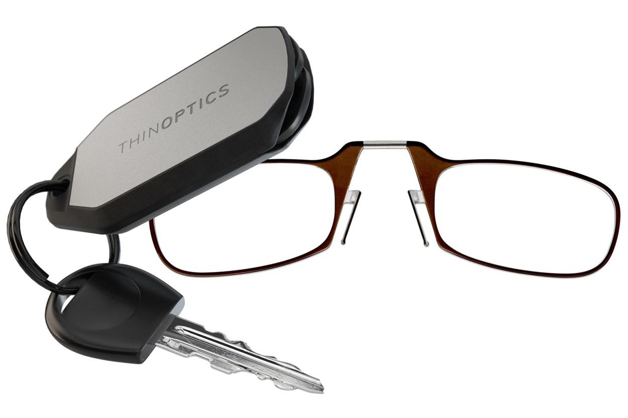 ThinOPTICS Keychain Case & Readers Brown ReadingGlasses