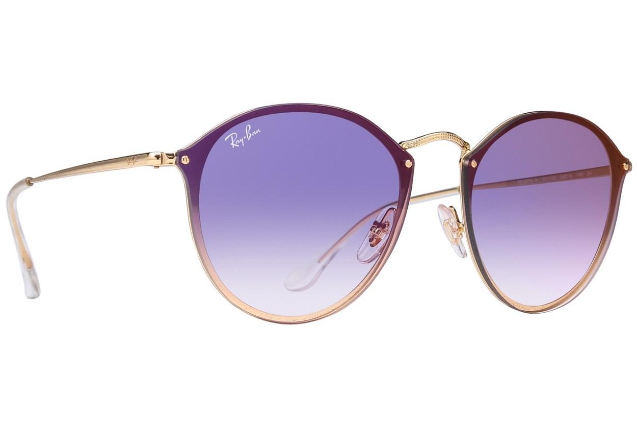 Ray-Ban® RB3574N Blaze Round Mirror Gold Sunglasses