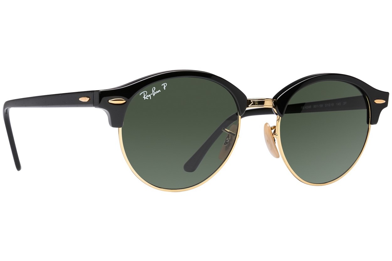 Ray-Ban® RB4246 Clubround Polarized Black Sunglasses