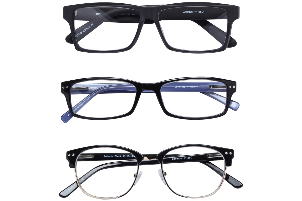 Lunettos Black Reading Glasses 3-Pack  ReadingGlasses