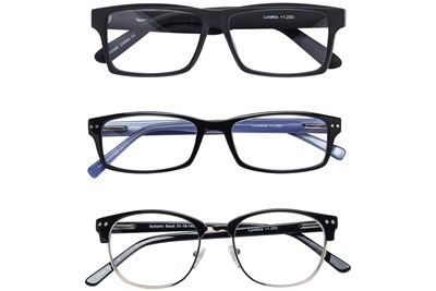 Lunettos Black Reading Glasses 3-Pack