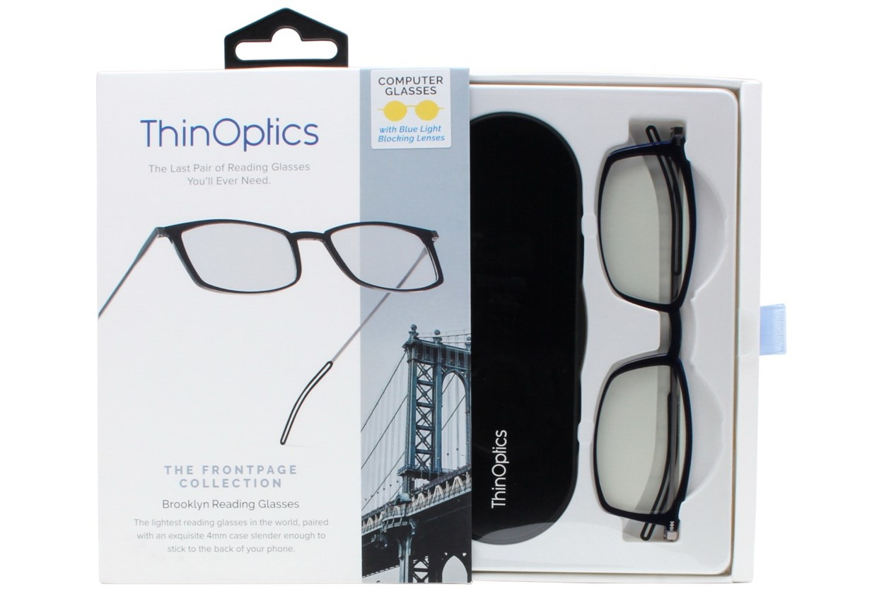Alternate Image 1 - ThinOPTICS Front Page Blue Light Blocking Computer Glasses + Milano Black Case Black ComputerVisionAides