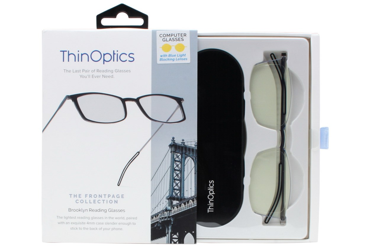 Alternate Image 1 - ThinOPTICS Front Page Blue Light Blocking Computer Glasses + Milano Black Case Clear ComputerVisionAides