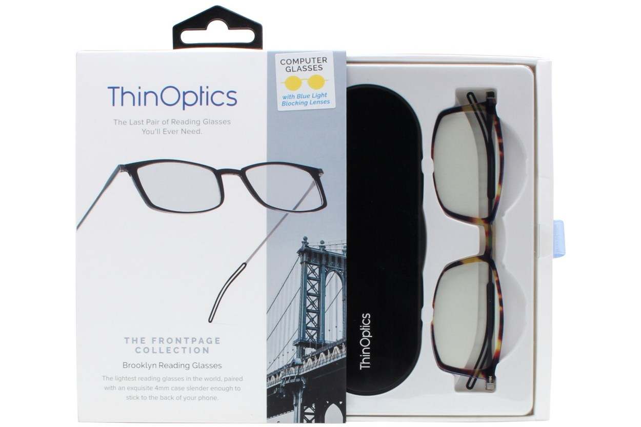 ThinOPTICS Front Page Blue Light Blocking Computer Glasses + Milano Black Case Tortoise ComputerVisionAides
